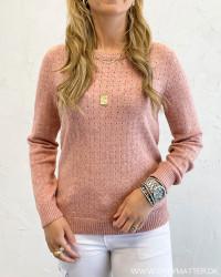 Viril Old Rose O-Neck Knit Top