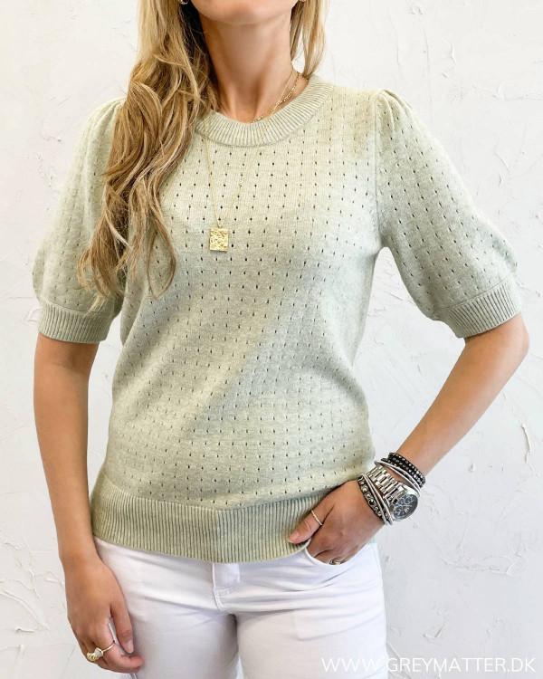 Puf ærme bluse i grøn til damer fra Vila