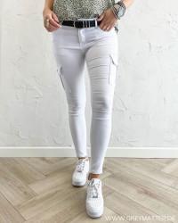 The White Raw Cargo Pants
