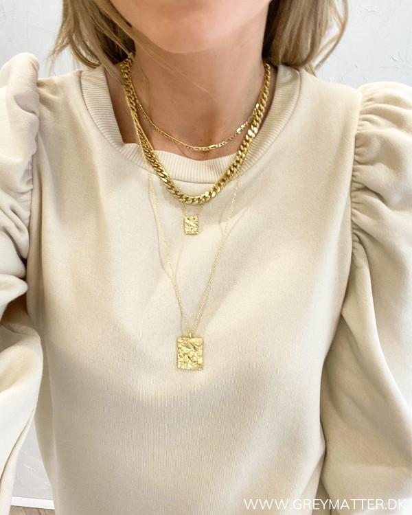 Panzer halskæde guld belagt mikset med flere halskæder