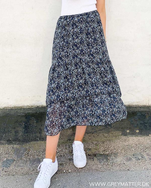 Midi nederdel med print