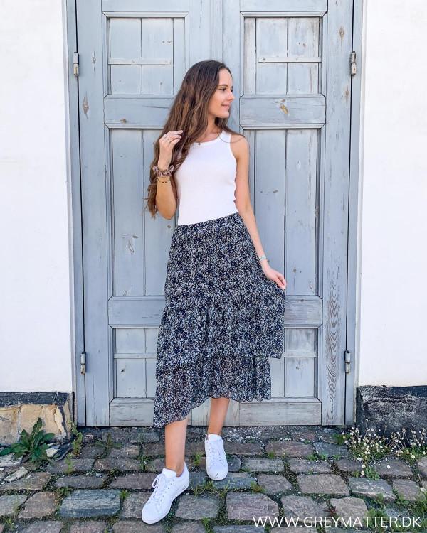 Lang sommer nederdel med print