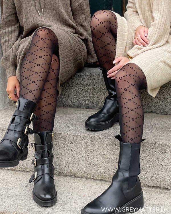 Sorte strømpebukser med logo til damer