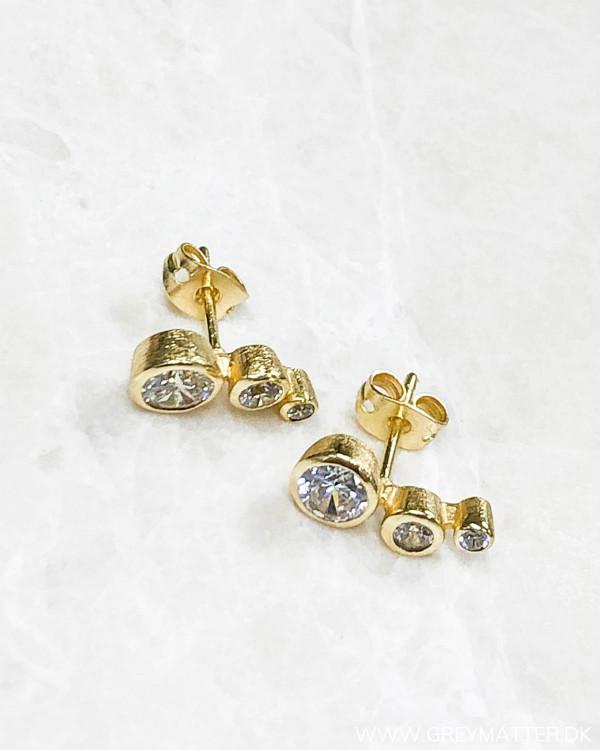 Three Golden Dot Earring
