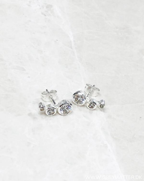 Three Silver Dot Earring