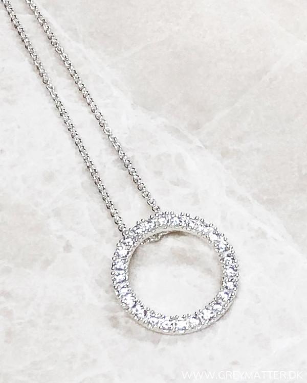 Round Silver Zircon Necklace