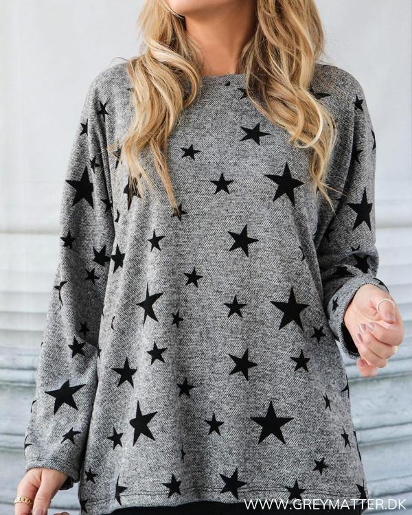 Grey Melange Star Velour Blouse