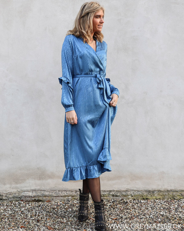 Yasotilia Blue Jaquard Printed Dress