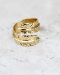 Golden Modern Feather Ring