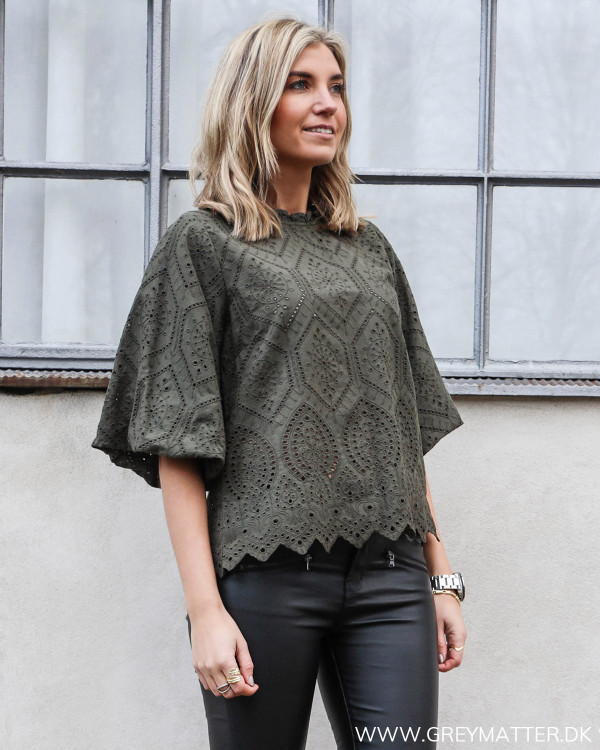 Riko Embroidery Army Blouse