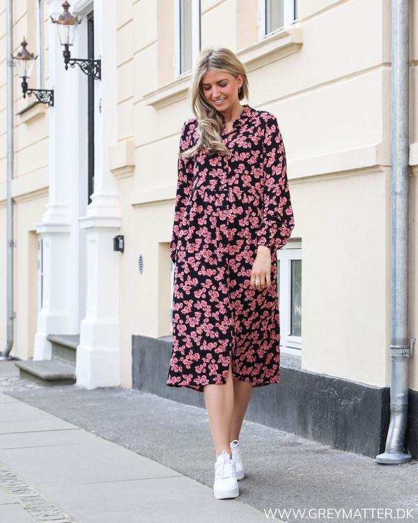 Vidomina Black Pink Flowers Dress