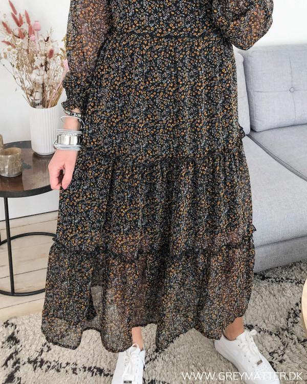 Paddy Black Small Flower Midi Dress