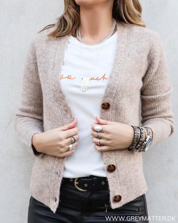 Gran Beige Melange Knit Cardigan