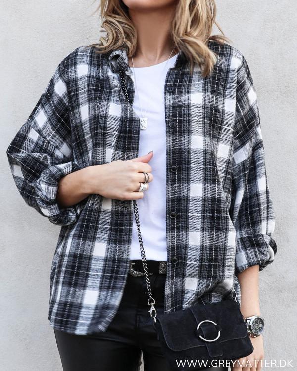 Black Checked Oversize Shirt