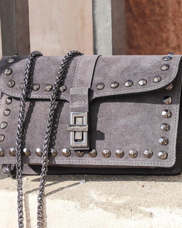 Raw Suede Dark Grey Bag