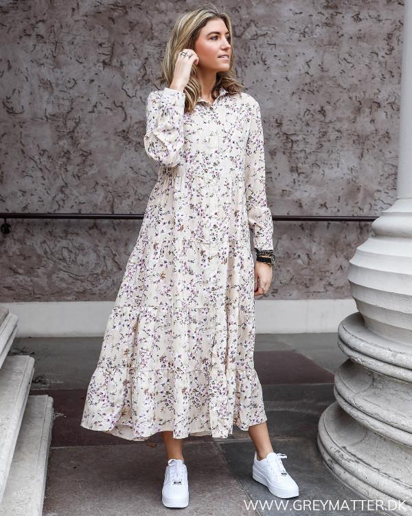 Beige Flower Printed Maxi Dress