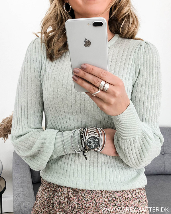 Loline Solid Mint Knit Blouse