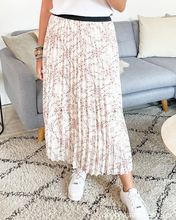 Plissé Midy Flower Skirt