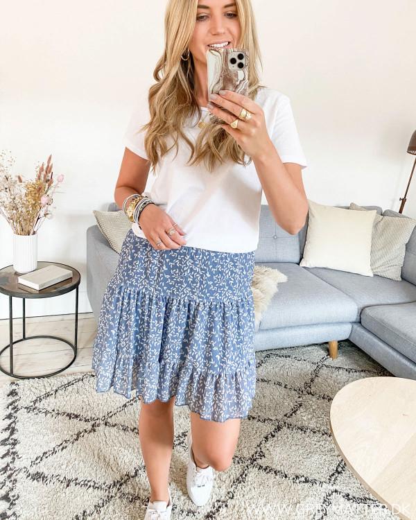 Blue Printed Layer Skirt