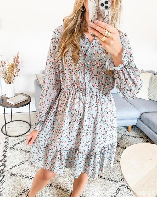 Midi kjole med blomsterprint