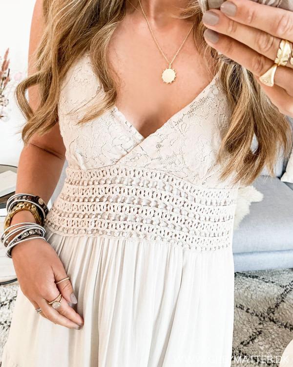 Deep Back Light Sand Dress