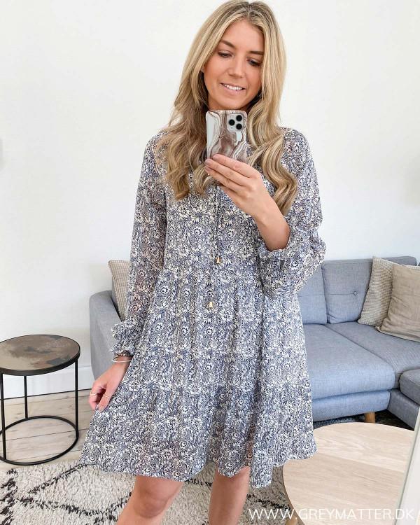 Flowy Blue Printed Dress