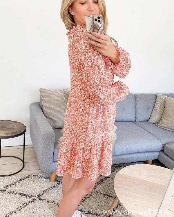 Flowy Orange Printed Dress