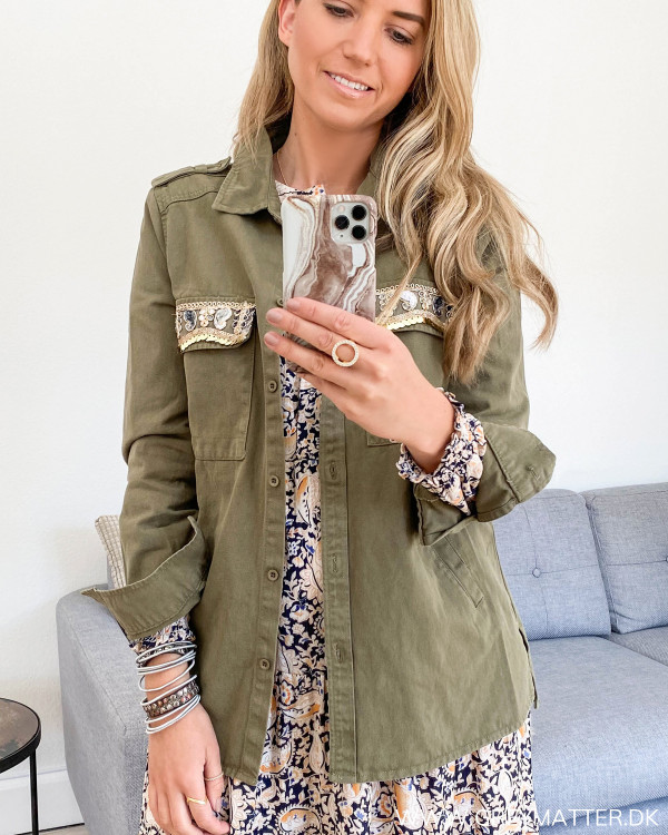 Sequin Detailed Army Jacket