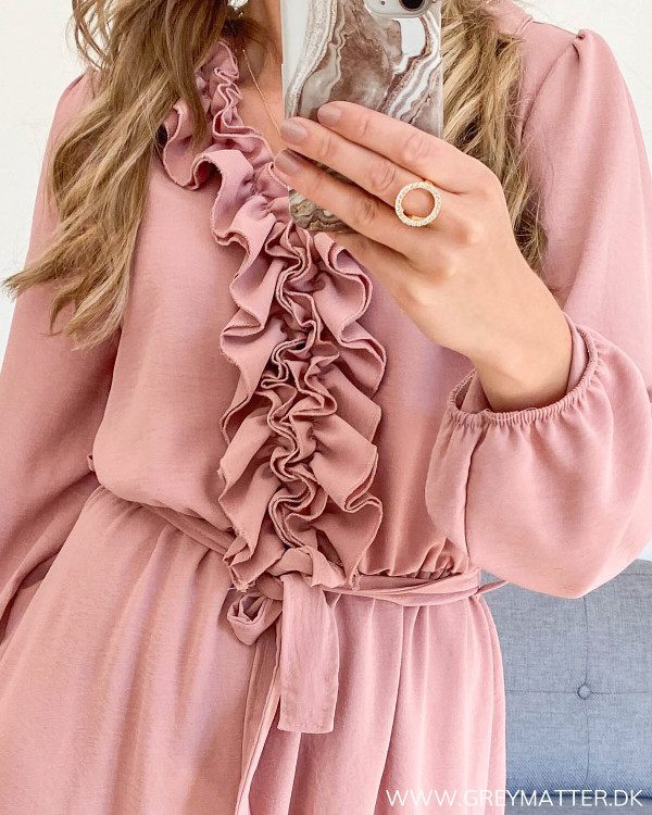 The Dusty Rose Front Ruffle Dress