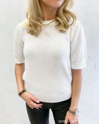 Vichassa Pristine White S/S Puff Knit Blouse