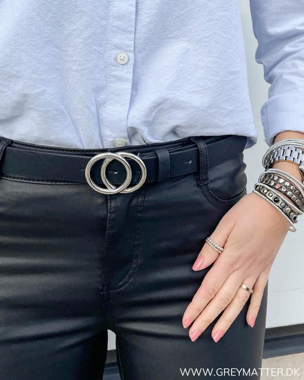 Onlrasmi Black Silver Faux Leather Belt