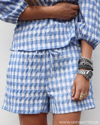 Abbigail Summer Check Light Blue Shorts