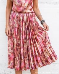 Pink Rose Midi Plisse Skirt
