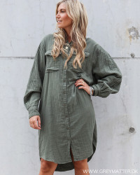 Kendell Gauze Army Shirt Dress