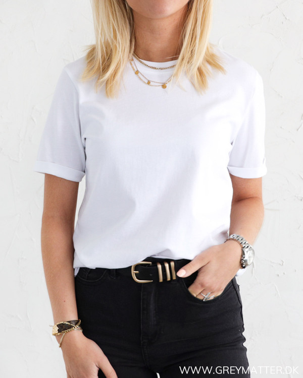 Pieces Pcria Fold Up Solid White Tee
