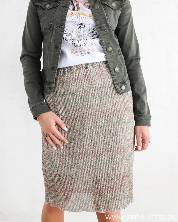 Floral Green Plissé Skirt