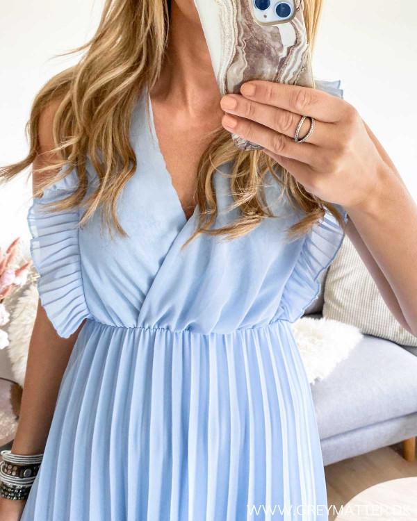 Blå Plissé kjole