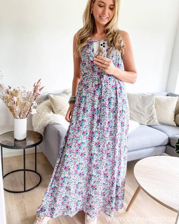 Lang strop kjole med smukt print
