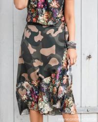 Flower Camouflage Ruffle Wrap Mid Skirt