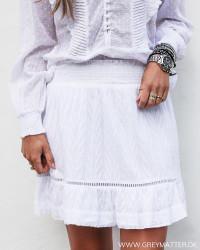 Teffie Leaf Dobby White Skirt
