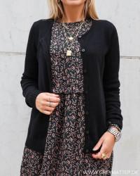 Viril Black Button Knit Cardigan
