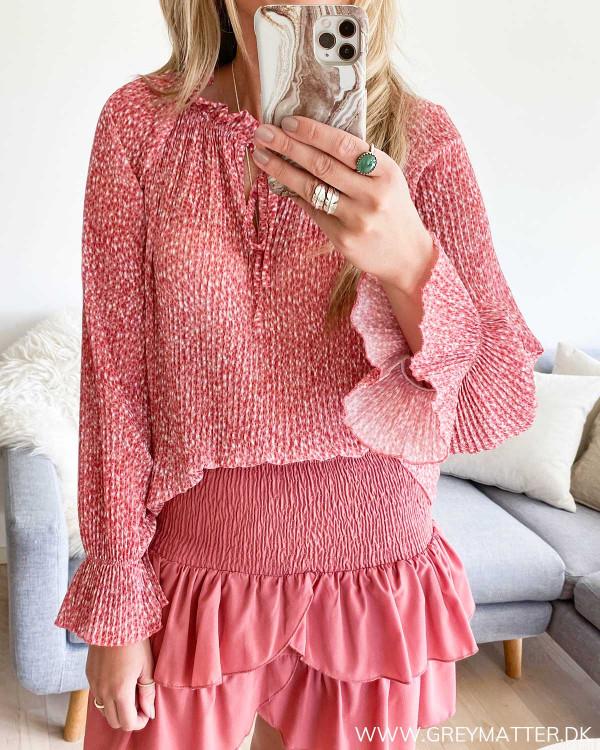 Rød Plissé bluse