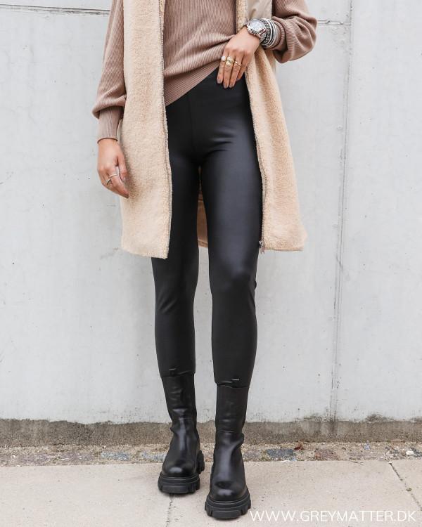 Pieces Pcnew Shiny Fleece Black Leggings