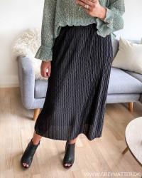 Vipleasa Black Midi Skirt