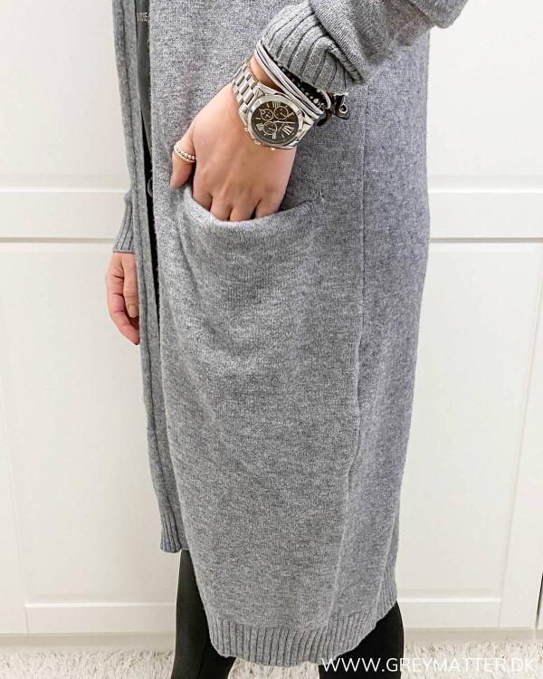 Viril Medium Grey Melange Long Knit Cardigan