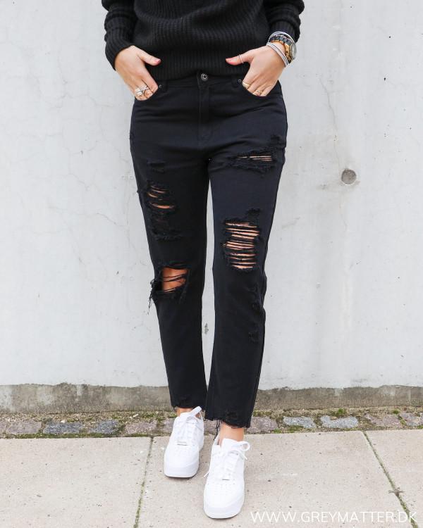 Bukser med huller sorte