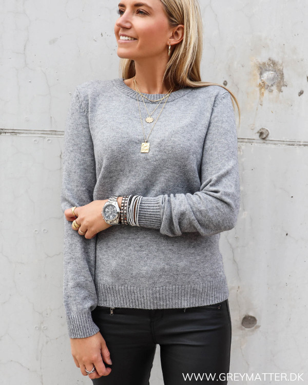 Vila viril medium grey strik bluse Grey Matter Fashion