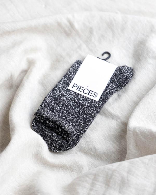 Glitter strømper Pcsebby Long Glitter Black Socks
