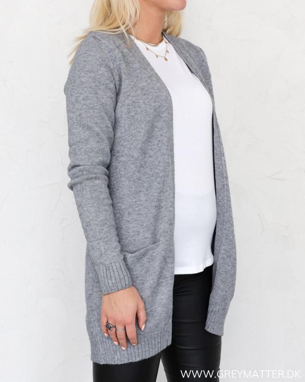 Vila Viril Open Medium Grey Melange Knit