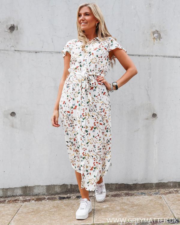 Pieces kjole med print og krave
